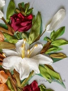 SALE Silk ribbon embroidery Lilies and peonies full kit
