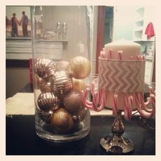 Christmas craft! Use a vase. Go to Dollar store buy some bulbs. Put inside vase. 2. Buy big candle at Dollar store, along with a candle stand, with candy canes, a wide piece of ribbon. Use some glue to hold ribbon around candle. Pretty and not much money.