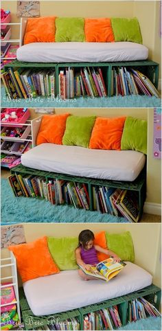 Repurposed crib mattress and plastic crates for reading nook! Bookshelf Bench, Bookshelves, Diy Kid Bookshelf, Plastik Box, Reading Nook Kids, Classroom Reading Nook, Reading Areas, Reading Habits, Old Cribs