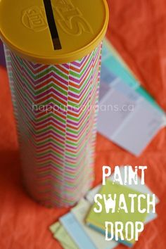 pringles can and paint swatches for fine motor activity, you could actually use the complete strip as decoration on the can and then cut up a different one and have children match the colours to the right cans