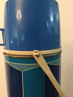 Thermos Blue Geometric Design Made in USA by PineStreetPickers