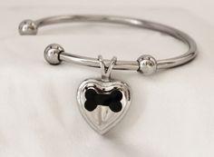 Stainless Steel Dog Bone Heart Cremation Keepsake Charm Bracelet with Fill Kit. Charm Bracelet