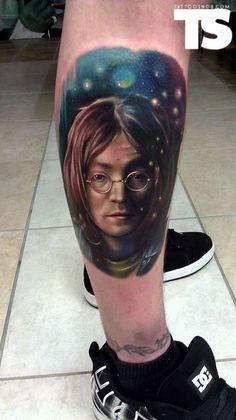 I could probably insert some literate and witty pun here if I paid attention to pop culture,  but I don't. So...John Lennon. Tattoo byKyle Cottermanat Smart Bomb Tattoo in Dayton, OH