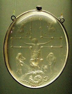 AD825-850 Rock crystal with Crucifixion scene, Carolingian Germany. modern-frame.