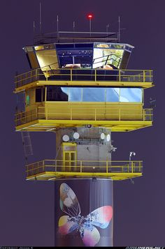 MMX control tower at night, pimped with butterflies for the Eurovision Song Contest. - Photo taken at Malmo (- Sturup) (MMX / ESMS) in Sweden on May Ho Scale Train Layout, Ho Scale Trains, Train Layouts, Aviation World, Air Traffic Control, Aircraft Pictures, Airports, Atc, Industrial