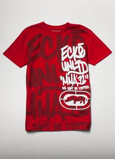Ecko Unltd MMA: We Can't Be Stopped! We're announcing it to the public. Crew neck t-shirt with large lettering created with soft print ink and high density gel ink detailing.