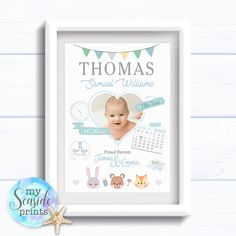 Your place to buy and sell all things handmade Nursery Frames, Nursery Prints, Baby Presents, New Baby Gifts, Calendar Layout, Baby Posters, Cute Animal Illustration, Baby Boy 1st Birthday, Personalised Prints
