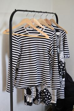 Black and white Marimekko clothes on Ikea's Mulig clothes rack. Marimekko, Ikea Hack, Storage Organization, Lily, Hacks, Dreams, Black And White, Clothes, Tops