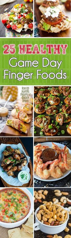 25 Healthy Game Day Finger Foods is a collection of lightened up game day snacks, appetizers and dips that will satisfy everyone, from a hardened football fan to someone there just to enjoy good food! #Healthy #Football #Snacks #Recipes #Food: