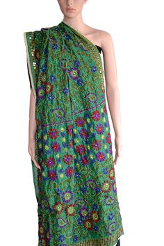 A beautiful #dupatta in Green #Chanderi #Fabric with colourful #handembroidery. Could not be more apt for that different look. (Fabrics of #India - www.facebook.com/fabricsofindia2013) Price: USD 42