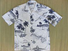 Mens Hawaiian Shirt Vintage 80s ROYAL CREATIONS Map Hawaii Islands King Kamehameha Diamondhead Cruise Luau Aloha - M…