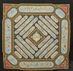 "Hermes Black & Multicolor Silk Twill Catherine Baschet ""Qalamdan"" 90cm Scarf on auction #Hermes"