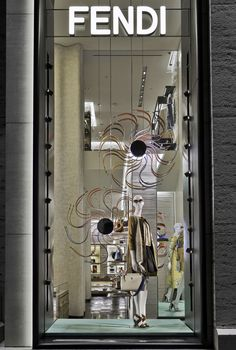 The Fendi Strap You accessory collection displayed in the new boutique window theme in Madison Avenue, New York.