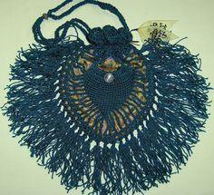 TEAL CROCHET BAG, Vintage Fiber, h.t.&f.h. studio Original Design, Victorian, Cowgirl, Retro Hippie Chic, Totally Modern on Etsy, $159.99