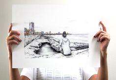 Landscape I Cuba. Malecón (pen + watercolor) I artist: marinaggalietero