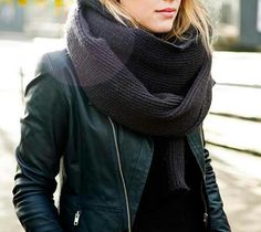 Leather jacket, chunky scarf