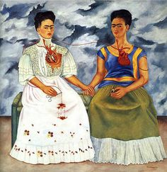 The Two Fridas. This is some of my favorite art and Frida Kahlo is one of my favorite artists. Her style is distinct and i love the self portraits of her. Frida and Diego Rivera are my two favorite Mexican artists. Diego Rivera, Frida E Diego, Frida Art, Frida Kahlo Artwork, Tomie Ohtake, Kahlo Paintings, Oil Paintings, Mexican Artists, Magritte