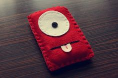 Felt Monster Phone or iPod Sock/Cover by BABUA - Red. $10.00, via Etsy.