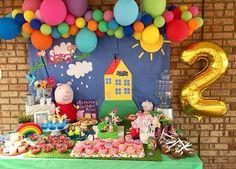 Peppa Pig Birthday Decorations, Peppa Pig Birthday Cake, Peppa Pig Y George, Baloon Garland, Peppa Pig Balloons, Peppa Pig House, Pig Candy, 2nd Birthday Parties, House Party
