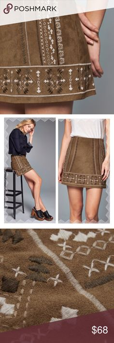 "Abercrombie & Fitch 8 Embroidered Faux Suede Skirt 📦Same day shipping (as long as P.O. is open for business). ❤ Measurements are approximate. Descriptions are accurate to the best of my knowledge.  Gorgeous faux suede ""camel"" colored A-Line skirt from Abercrombie & Fitch with cream/olive/tan embroidery. This beautiful skirt is fully lined with a hidden side zipper. Brand new with tags in the original packaging. 90% polyester, 10% elastane. Lining: 100% polyester. Flat measurements: 15""…"