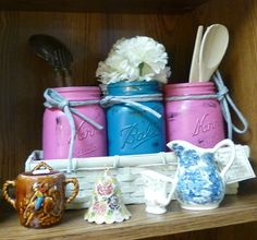 Cute painted ball jars in pastels Spotted at Angela's Attic in So. Beloit, Illinois booth #58