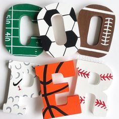 Ideas For Baby Boy Nursery Sports Theme Wooden Letters Painting Wooden Letters, Diy Letters, Letter A Crafts, Painted Letters, Hand Painted, Decorating Wooden Letters, Wooden Decor, Wood Letters Decorated, Boy Sports Bedroom