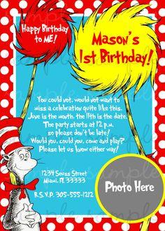 Dr Seuss Birthday Invitation by invitesxo on Etsy, $12.00