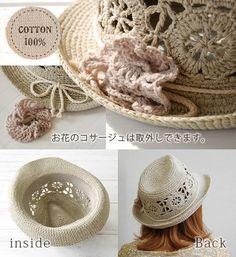 ナチュラルな雰囲気の中おれニットハットって新鮮♪。大きなカギ編みレースデザインが甘く涼しげなコットンニット素材のナチュラル帽子。サイドには取り外し可能なフラワーニットコサージュブローチ付き/麦わら帽子風/HAT/レディース/婦人用 ◆クロシェニット中折れハット