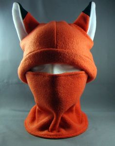 Fox Fleece Hat Ninja Two Piece Hat and Neckwarmer worn together or seperate Warm Winter Fun Cute Cosplay Anime Hat Crafts, Sewing Crafts, Sewing Projects, Winter Fun, Winter Hats, Fox Hat, Fleece Hats, Fleece Blankets, Trendy Baby Clothes