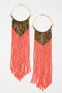 Orange Bead Dangle Earrings