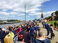 Queues to see HMS Ocean in Sunderland today.