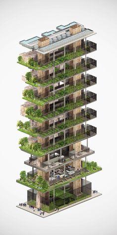 New York City Vertical Farm on Behance #fachadasverdesverticalgardens