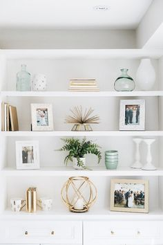 35 Essential Shelf Decor Ideas (A Guide to Style Your Home) bedroom livingroom kitchen ikea builtin wall modern teen diy floating 778208010589218955 Home Decor Inspiration, Home Decor Accessories, Dining Room Makeover, Shelf Decor Living Room, Bookshelf Decor, Apartment Decor, Living Decor, Amazon Home Decor, Bookcase Decor