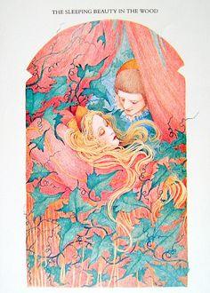 1987 Sleeping Beauty and Prince Vintage Fairy Tale Book Plate Sleeping Beauty Art, Sleeping Beauty Princess, Vintage Fairies, Vintage Art, Fantasy Pictures, Briar Rose, Fairytale Art, Fairy Tales, Children Stories
