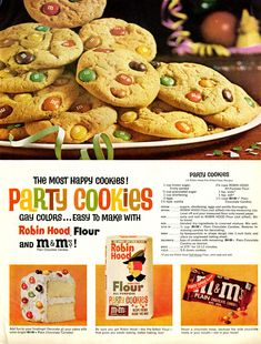 Make six dozen delicious m&ms party cookies with m&ms plain chocolate candies. Fun for the kids, fun for you, party cookies are so easy to make! Party Cookies Recipe, M&m Cookie Recipe, Candy Cookies, Cookie Recipes, Dessert Recipes, Desserts, Recipe Box, Cookbook Recipes, Kitchen Recipes
