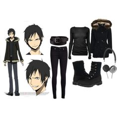 Costume Anime Durarara/Izaya Orihara Inspired Outfit - A fashion look from November 2013 featuring boat neck shirt, rider jacket and fleece booties. Browse and shop related looks. Anime Inspired Outfits, Disney Inspired Fashion, Themed Outfits, Character Inspired Outfits, Disney Fashion, Casual Cosplay, Cosplay Outfits, Anime Outfits, Disneybound Outfits