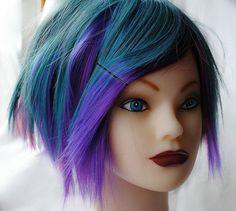BLUEBERRY BURST wig // Short Emo Punk Scene Blue Purple Pink Hair / Rainbow Blue on eBay!