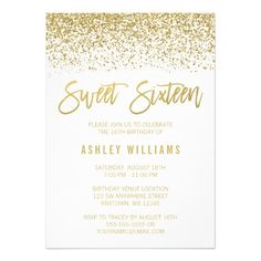 Modern White Faux Gold Glitter Sweet 16 Birthday Card