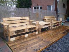 P1010929 600x450 Mon nouveau set de jardin / Pallets garden set in pallet garden  with Table Pallets Garden Bench
