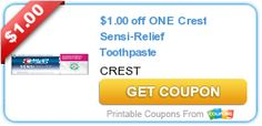 Tri Cities On A Dime: $1.00 COUPON ON ONE CREST SENSI-RELIEF  TOOTHPASTE...