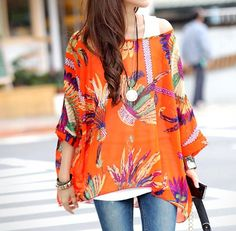 Women's Chiffon Tunic with Tropical Print