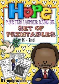 This is a set of printables to be used for Martin Luther King thematic units or centers. They are directed to Kinders, first and second graders and can also be used for homework or extra activities.   The sheets can also be adapted for homework or homeschoolers, too.