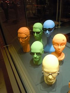Color Story #merchandising we have male mannequin heads in different colors