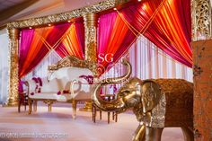 Suhaag Garden Indian Wedding, California Indian Wedding, Stage Furniture
