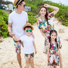 1pcs Summer holiday family matching clothes  girl mother dress girls flower Dresses father Boy t shirt pants sets Outfits