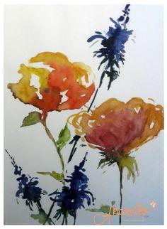 Rittersporn & Rosen Aquarell by Akwarello. #watercolor #rose #larkspur #delphinium #Inneneinrichtung #Innendekoration #Innendesign #homestaging 50x70cm Harfaserrahmen/Passepartout 160,00€
