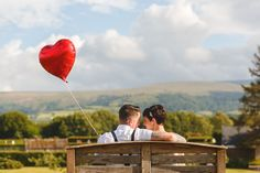 Red Heart Balloon Quirky Country Barn Wedding Pug Dog http://aledgarfieldphotography.co.uk/