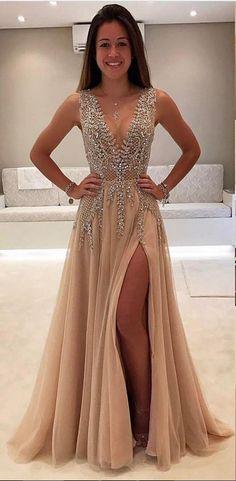 Champagne Abendkleider Lang Günstig V Ausschnitt Tüll Abendmoden Abiballkleider