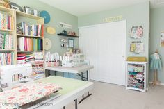Updated craft room~ Well it's about time. I've been hinting about a craft room makeover-ok makeover is the wrong word….slightly updated craft room. I mean, craft studio….don't I sound legit now? ~By Jess from Craftiness is not Optional, Sewing Room Design, Sewing Spaces, My Sewing Room, Sewing Rooms, Safe Storage, Craft Room Storage, Craft Organization, Craft Rooms, Organizing Ideas
