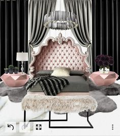 Creating this room was so much fun!! Another client satisfied :) _Luxury at it's finest  _Ready for my next client #mywork #work #interiordesigner #design #art #fashion #decor #bedroom #stylist #glam #glamour #shine #diamond #crystal #modern #rose #gold #white #black #gray #purple #violet #velet #silver #chandelier #home #green #plush #sheepskin #fur #luxury #plants #flowers #roses #bench #handmade #royal #marble #beautiful #custom #curtains #love #passion #unique #women #rooms #…